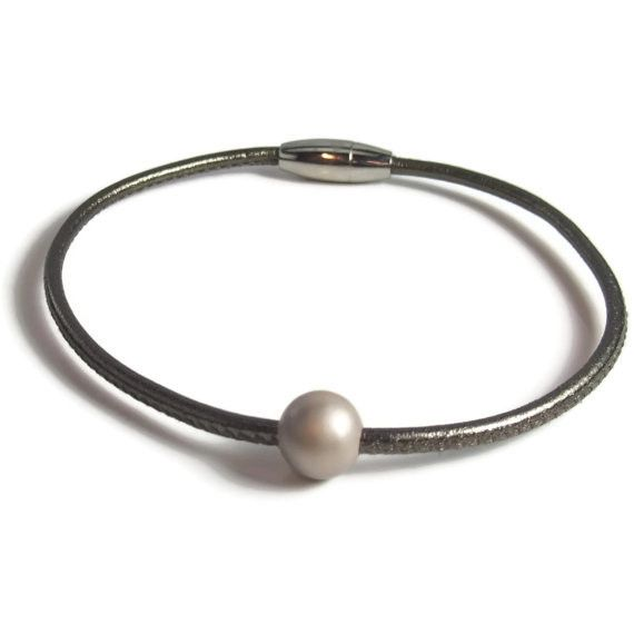 Taupe Leather Anklet with Pearl Bead