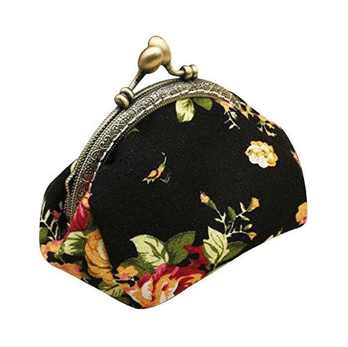 Vovotrade® Femmes Dame Rétro Vintage Fleur Petit portefeuille Fermoir sac à Main Embrayage (Noir)