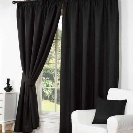 Hamilton McBride Black Traditional Wenden Pencil Pleat Curtains