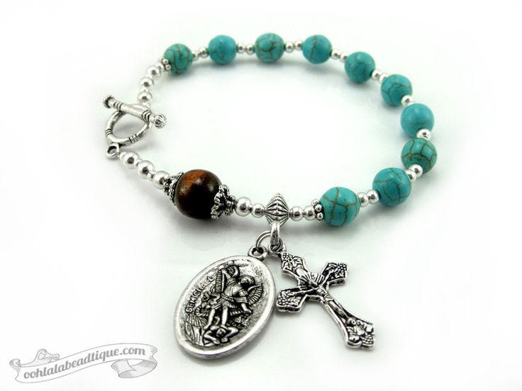 Turquoise Rosary bracelet, Catholic Jewelry, single decade rosary, Confirmation gift, St Michael medal, chaplet, St Michael bracelet rosary by OohlalaBeadtique on Etsy https://www.etsy.com/listing/189531557/turquoise-rosary-bracelet-catholic
