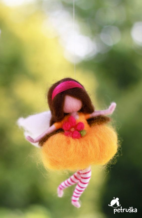 Needle felted Fairy with the goose in a red by PETRUSKAfairyworld