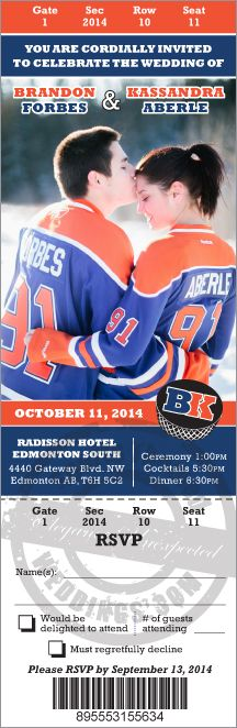 Planning an NHL hockey themed wedding?  You might consider inviting your guests using a custom designed ticket invitation featuring a photo of the bride and groom.  Contact us at SportsThemedWeddings.com for a quote.