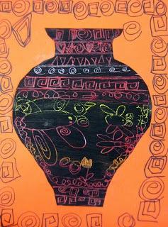 Experiments in Art Education: Greek Vases: Scratch Art