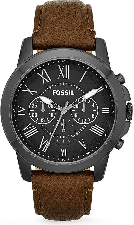 Fossil FS4885 Grant Leather Watch - for Men