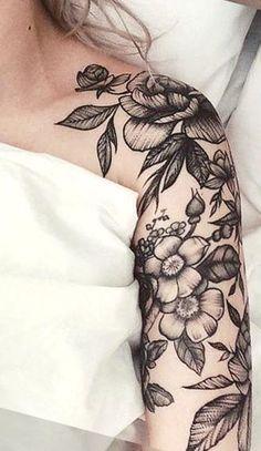 Schwarz und Weiß Realistische Rose Tattoo Ideen für Frauen – Floral Full Arm Sleeve