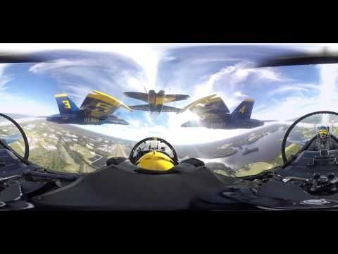 "Climb aboard Blue Angel 4 in the ""slot"" position. Situated at the back corner of the Angels' signature diamond formation, you'll see the F/A-18 Hornets flyin..."