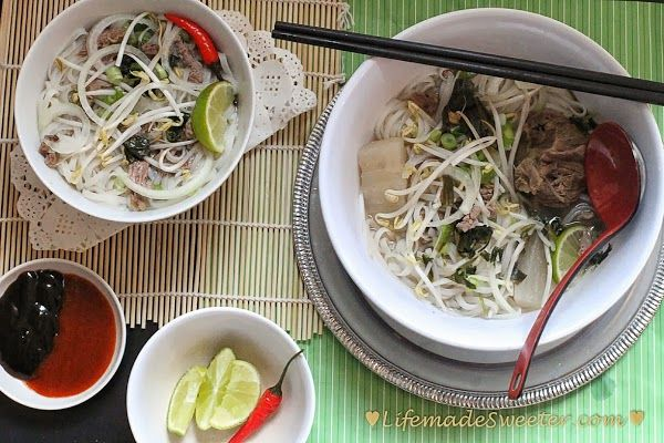 Vietnamese Pho – Beef Rice Noodle Soup (Pho Tai Bo) with Slow Cooker option