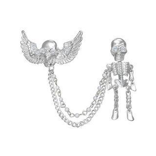 Broche tête de mort ailée avec squelette