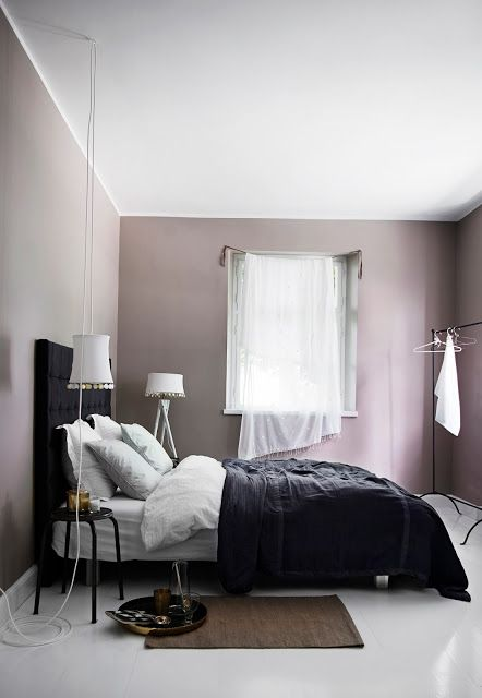 Mauve and black color scheme idea for bedroom                                                                                                                                                                                 More