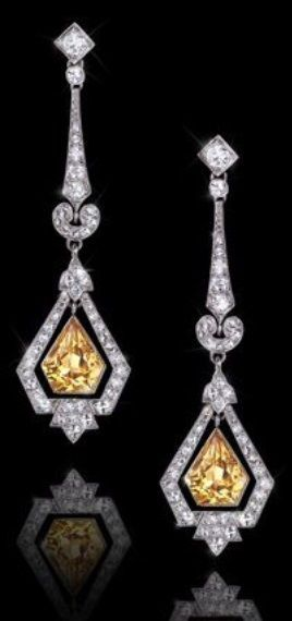 A PAIR OF ART DECO PLATINUM, CITRINE AND DIAMOND EARRINGS, CIRCA 1930. #ArtDeco #earrings