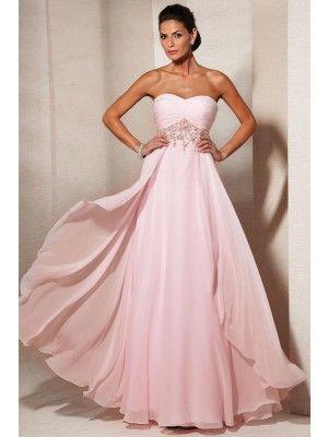 A-line/Princess Ermeløs Chiffon Beading Kjæreste Floor-length Dress - Kjoler for Spesielle Anledninger