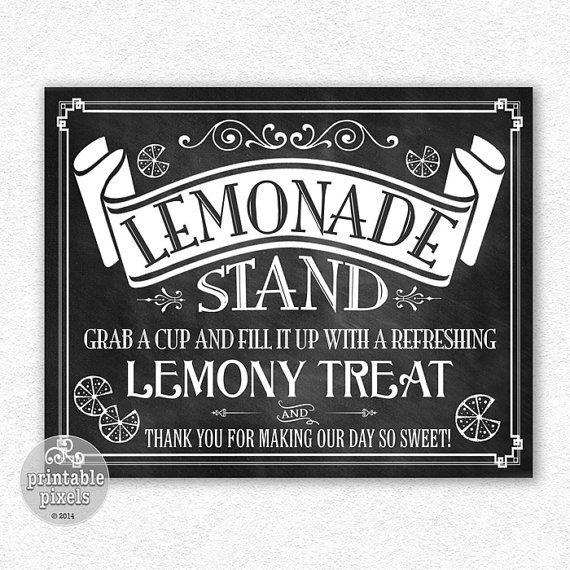 Lemonade Stand Sign 8x10 Chalkboard Printable by PrintablePixels, $4.00