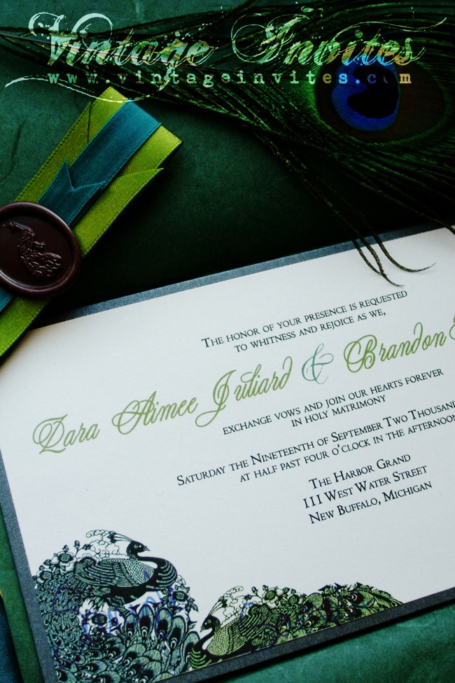 wedding invitations peacock theme%0A The Zara Vintage Peacock Wedding Invitation