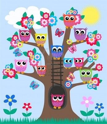 lot of owls in a tree Stock Photo