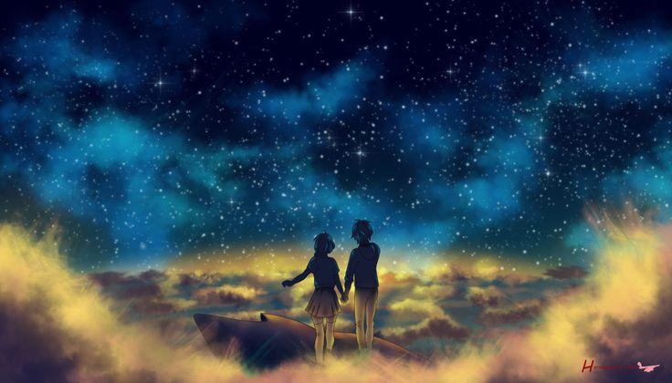 anime sky manga boy couple stars clouds boys wallpapers cloud gemerkt