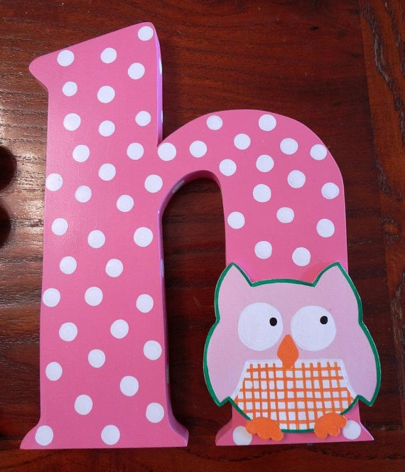 Handmade Custom Wooden Owl Wall Letters Pink By