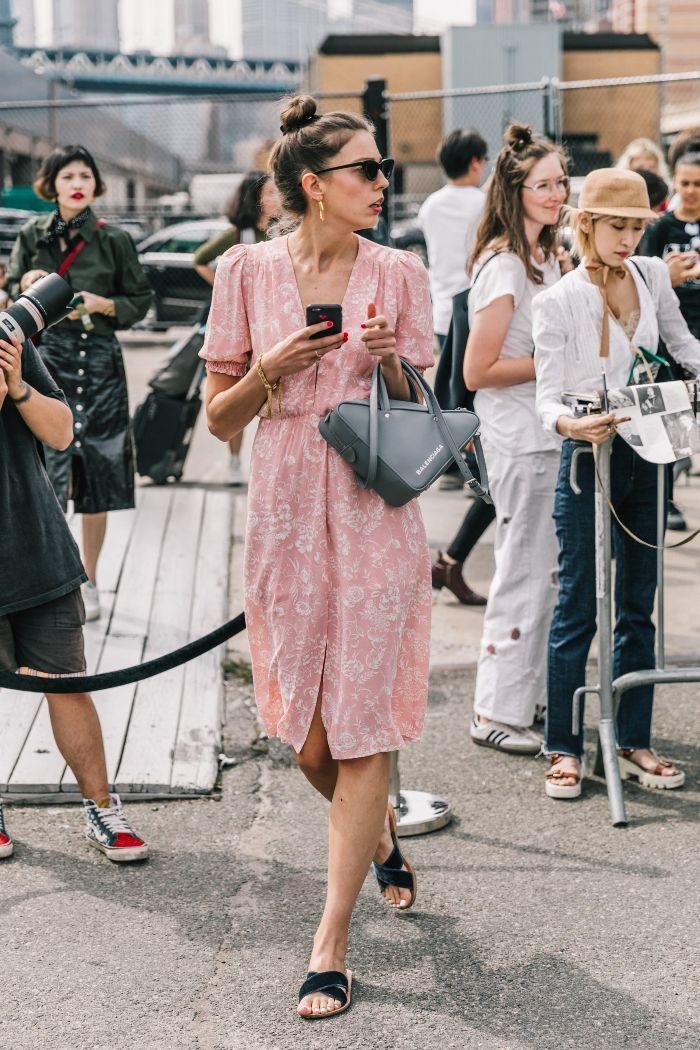 dresses. Pink midi dress + sandals
