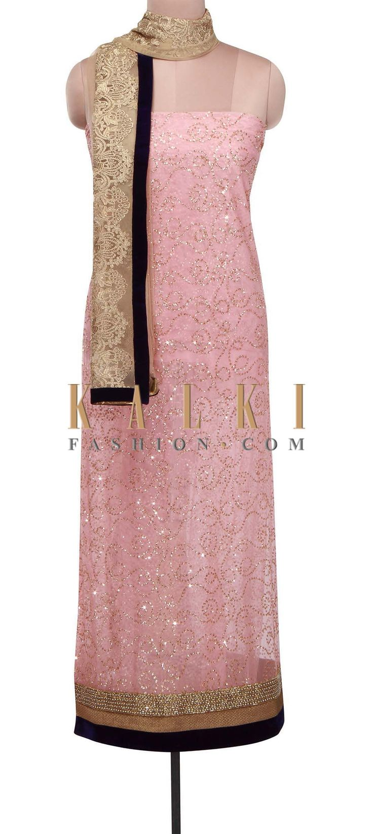 Buy Online from the link below. We ship worldwide (Free Shipping over US$100) http://www.kalkifashion.com/pink-unstitched-suit-adorn-in-sequin-and-pearl-embroidery-only-on-kalki.html