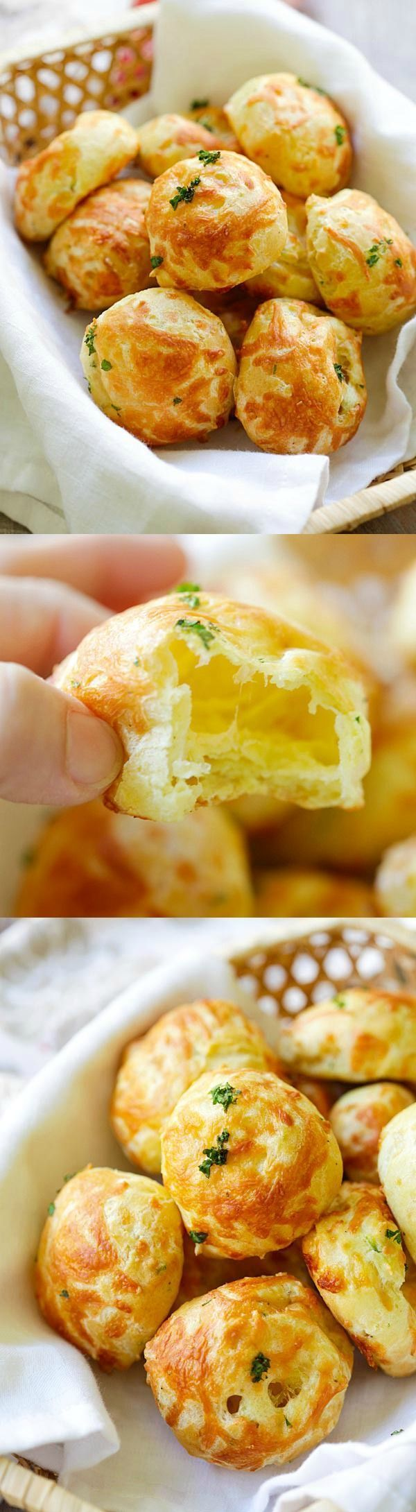 Cheese Puffs (Gougeres) - best and easiest recipe for puffy, light and airy French cheese puffs. Loaded with mozzarella and parmesan cheese, so good | http://rasamalaysia.com