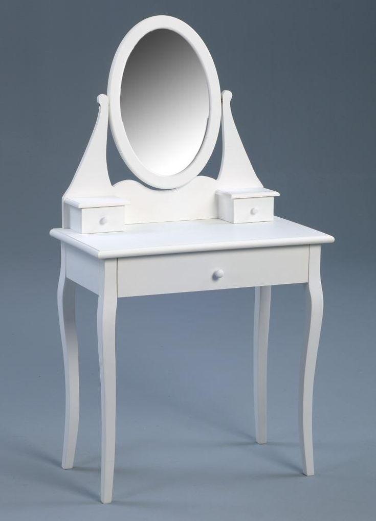 Toller Schminktisch mit genügend Aufbewahrungsmöglichkeiten in den Schubladen. Der Spiegel hilft dabei, das Outfit perfekt zu machen. Die Ausführung in weiss sorgt zusammen mit dem leicht nostalgischen Design für einen romatischen Touch und passt perfekt in jedes Schlafzimmer sowie in Kinder- und Jugendzimmer. #Spiegel #Schminktisch #Tisch