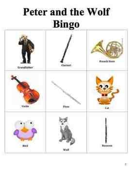 Peter & the Wolf Bingo - would make it look differently for the woodwind quintet arrangement of this piece, and use it in school presentations.