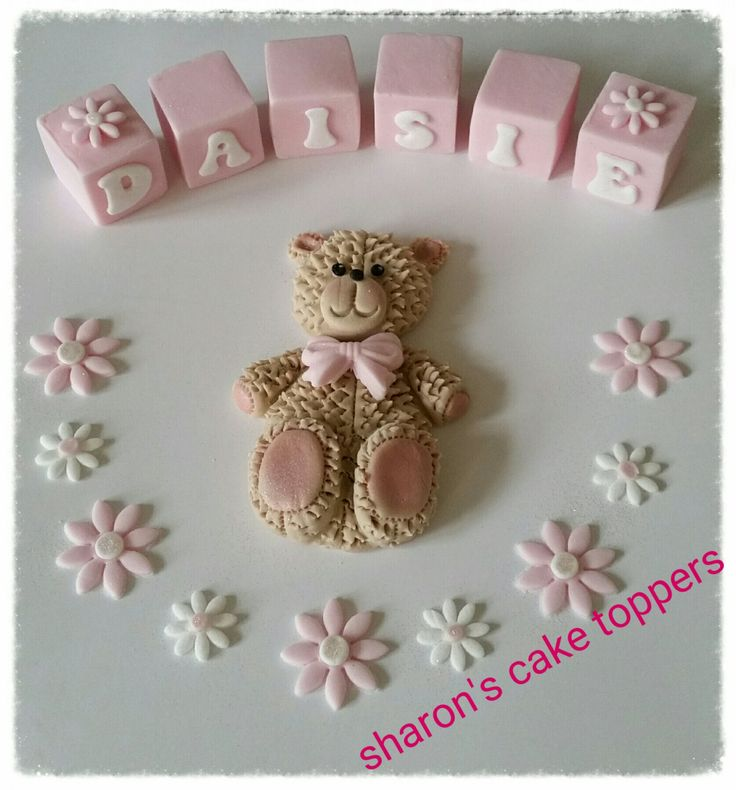 Edible teady bear and blocks, various colours. by sharonscaketoppers on Etsy