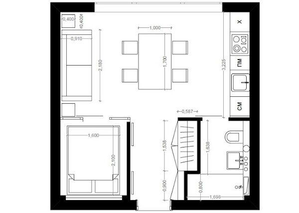 Un departamento de 30 metros cuadrados