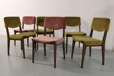 sedie produzione M.I.M. in legno rivestite in velluto, italia 1960 ca. nero design arezzo 1