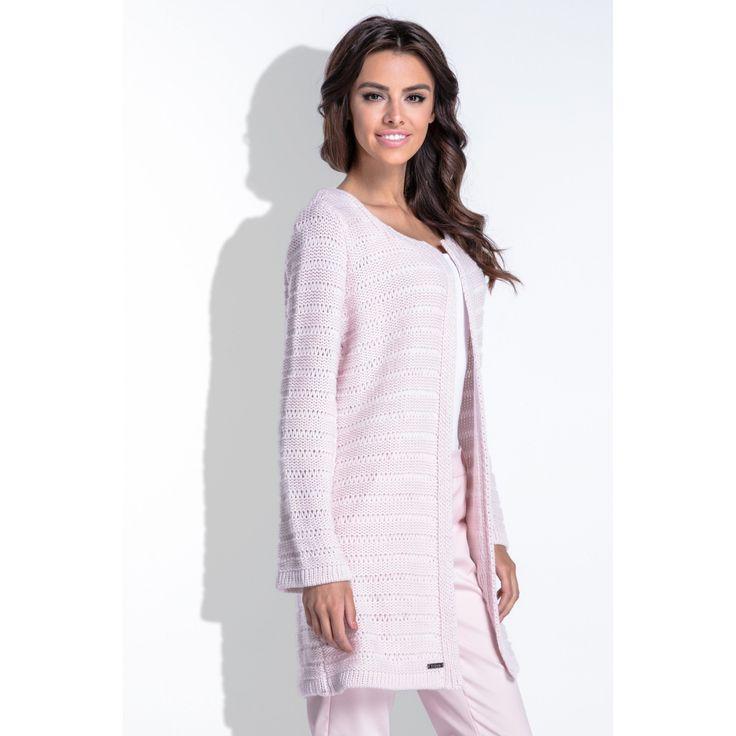 Cardigan dama tricotat elegant cu maneci lungi roz  #cardigandama #cardigan #cardigantricotat #cardiganlana