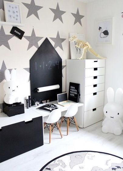 Black and white kid's room