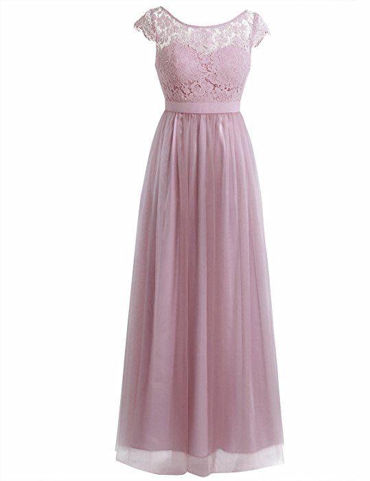 4ea70ec27f3a iiniim Women's Vintage Elegant Floral Lace Sleeveless Evening Prom Ball Gown  Long Maxi Wedding Bridesmaid Dress Dusty Rose (Cap Sleeve) 8: Amazon.co.uk:  ...