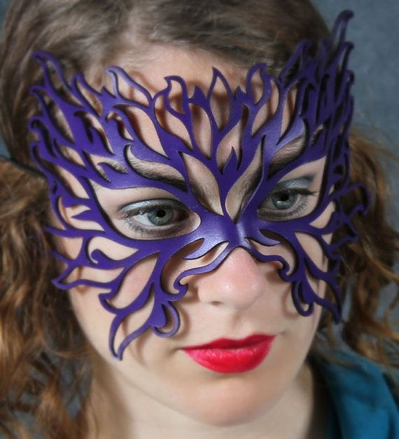 Filigree Flame leather mask in violet by TomBanwell on Etsy, $39.00