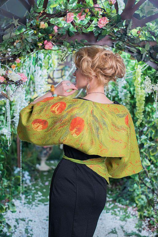 """Купить Пончо  -  кимоно """"Тюльпаны"""" - тюльпаны, красные тюльпаны, желтый, красный, зеленый, пояс на бедро"""