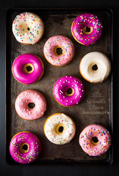 Baked Vanilla Bean Doughnuts. E saw these and told me that they look yummy. Guess we are going to try this one day!