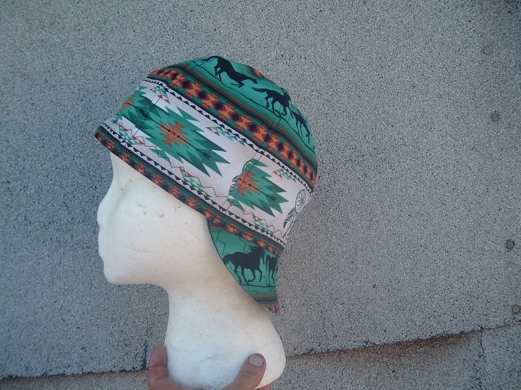 Horse silhouette on Turquoise Welding Cap available at Native Welding Caps via Etsy and Ebay stores.