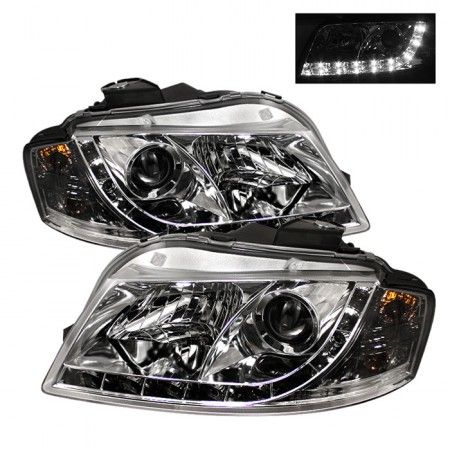 Spyder Auto 444-AA306-DRL-C | 2007 Audi A3 Chrome/Clear DRL LED Projector Headlights for Coupe/Sedan/Hatchback/Wagon