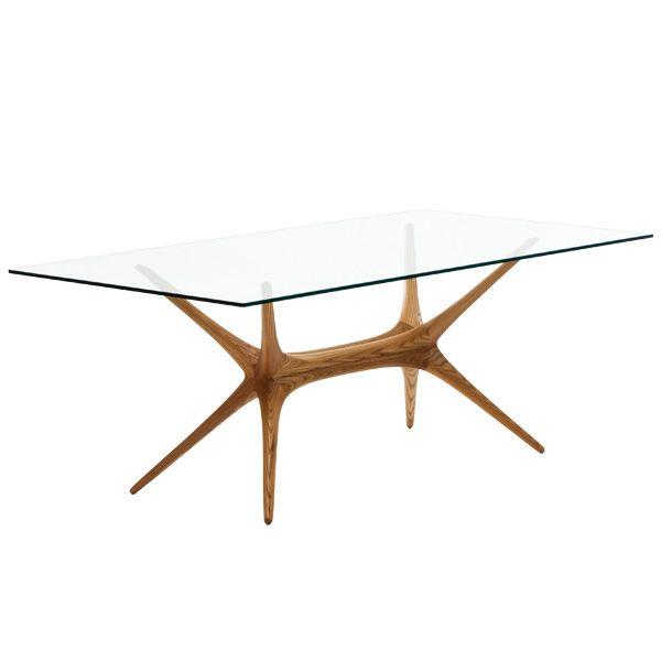 X-Frame glass top table by Tapio Wirkkala.
