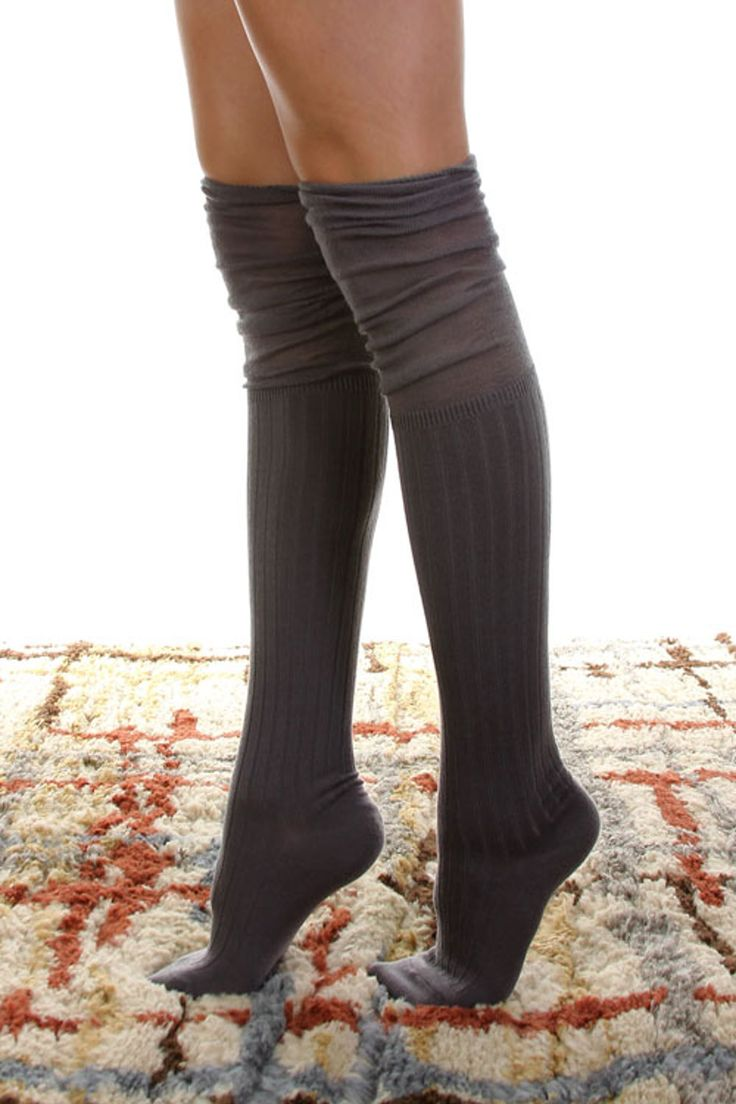 SALE- Jersey Over The Knee Socks-Grey