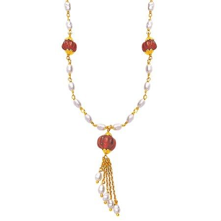 Jpearls Ruby and Pearl Gold Chain with Pearl Drop Pendant