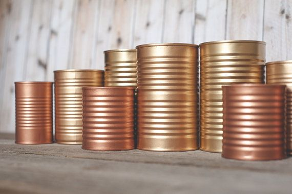 3 Painted tins cans. Centerpieces. Steampunk wedding, copper and gold decor. Rose gold, wedding decor. on Etsy, 20,90 €