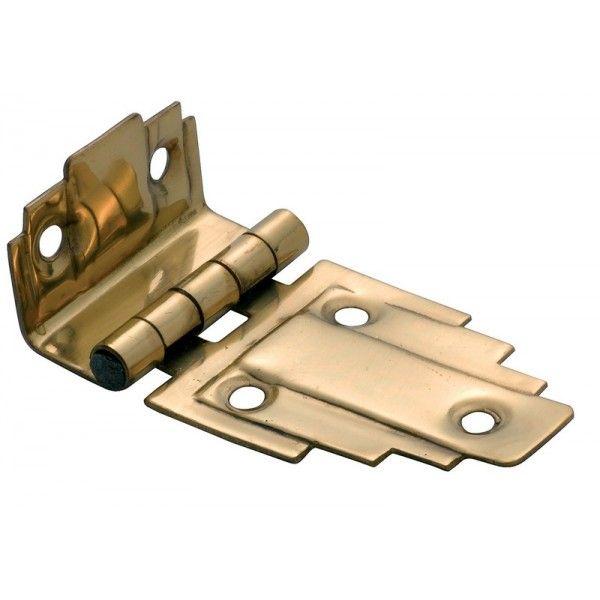 Offset Hinge (Stepped) Polished Brass - 63mm x 32mm