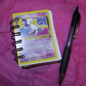 "I just added this to my closet on Poshmark: Custom Handmade Pokémon Mew Card Mini Notebook. Price: $24 Size: 2.5"" x 3.5"""
