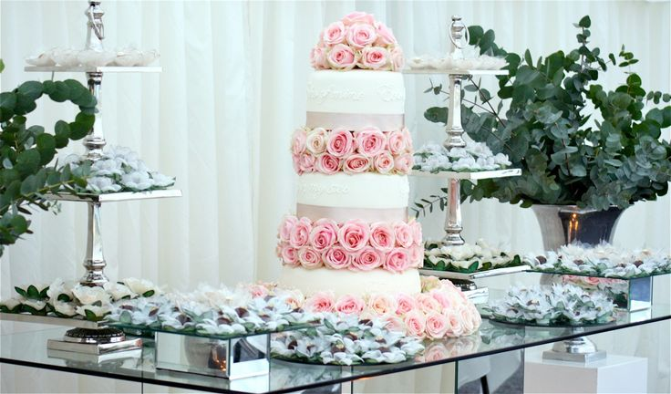 Wedding Sweet & Favour Table & Wedding Cake. Created and styled by www.villadolce.co.uk