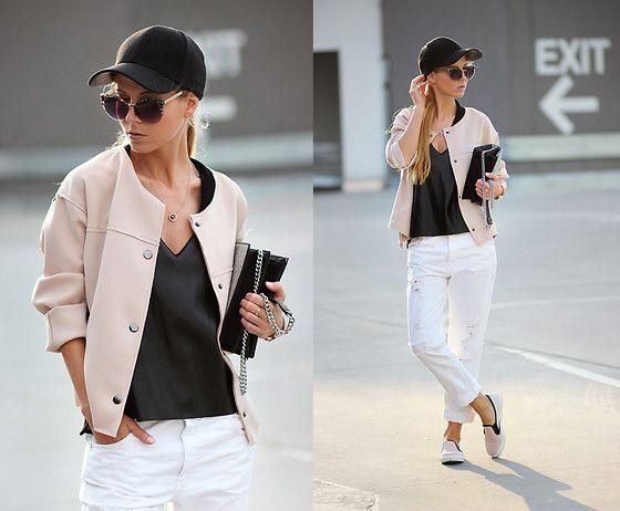 Sheinside Bomber Jacket, Choies Leather Top, Zara Jeans, Asos Slip On Sneakers