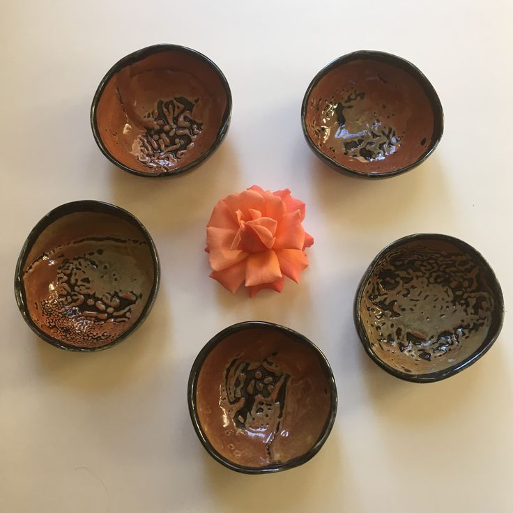 Hand built slab bowls with Malcolm Davis Shino glaze, by Linda Wiggen Kraft at Craft Alliance in Saint Louis, U City Loop