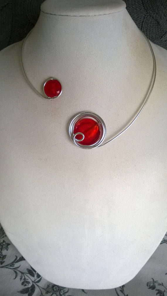 FREE GIFT Free earrings Open collar necklace Red necklace