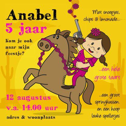Uitnodigingen - Uitnodiging Verjaardags feest cowgirl 93