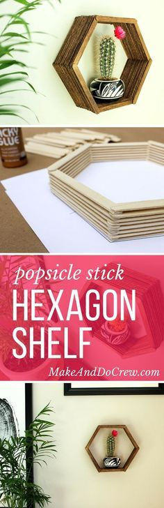 Add some mid-century charm to your gallery wall with this DIY wall art idea. All you need is popsicle sticks, glue and some stain to make this inexpensive home decor knockout. Click to see the full tutorial and download the hexagon template. | MakeAndDoCrew.com