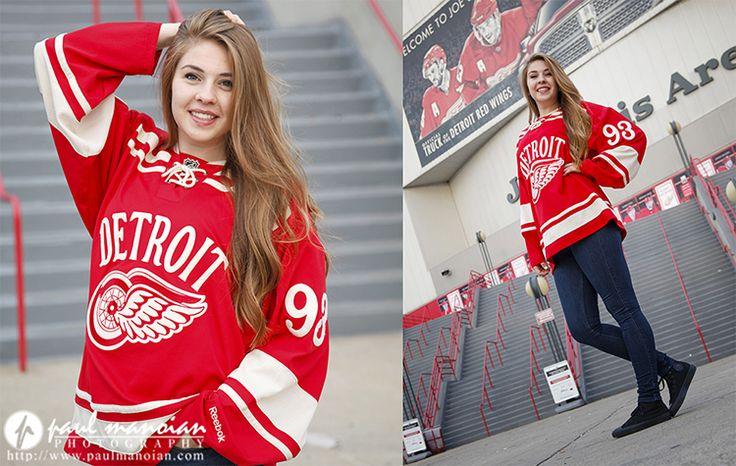 Hockey senior pictures ideas - Detroit Red Wings - Joe Louis Arena - Detroit senior portraits photographer
