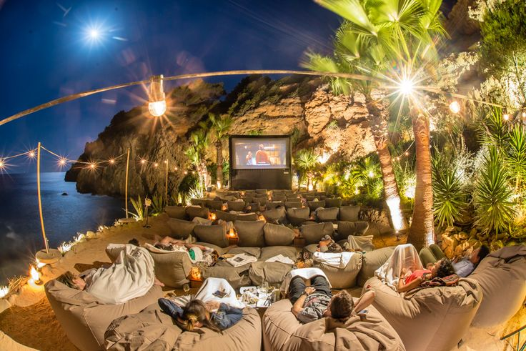 Outdoor movie night in Ibiza